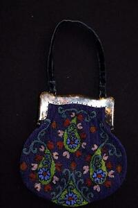 VINTAGE 1920'S-1930'S BEADED GLASS PURSE 8 INCHES BY 8 1/2 INCHES