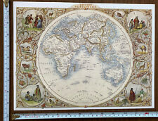 Historic Antique old colour map 1800s: Eastern Hemisphere: world Tallis Reprint