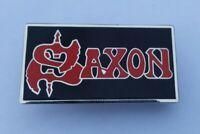 UK SAXON PIN BRITISH HEAVY METAL BAND NWOBHM