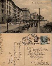 Genova, circonvallazione al mare, animata con Tram, viaggiata 1917