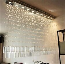 Luxury K9 Crystal LED Rectangular Curtain Dining Living Room Chandelier Lighting