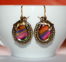 Vintage Rainbow glass Unicorn charm Victorian set brass dangle artisan earrings