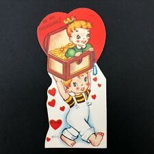 Valentines Card Vtg 40s 50s Costume Jewelry Jewels Gold Coins