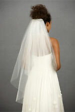 White Ivory 2 Layer Wedding Prom veil Bride Fingertip Cut Edge Veil +Comb