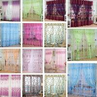 Home Floral Tulle Voile Door Window Curtain Drape Panel Sheer Scarfs Valances