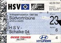 Ticket BL 97/98 Hamburger SV - FC Schalke 04, Südvortribüne