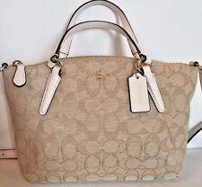 New Coach 57830 mini Kelsey Canvas Leather trim mini Satchel Light Khaki Chalk