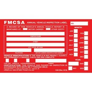 Pack Of 6 Annual Vehicle Inspection Label & 6 Annual Vehicle Inspection Report