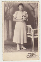 1920s Pretty Young Woman Female Lady in Dress Fashion and Flowers Girl Old Photo