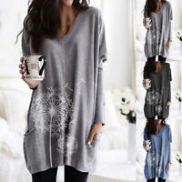 US Women Print Long Sleeve T Shirt Pullover Baggy Loose Pocket Blouse Tunic Tops