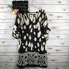Zara Woman Womens Dress Size S Cheetah Print Silk Flutter Sleeve Navy***53