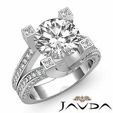 2.5ct Round Pave Diamond Engagement Split Shank Ring GIA F VVS2 14k White Gold