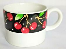 "Mary Engelbreit At Home Sakura 1994 Cherries Tea Cup 2 5/8"" Tall Stoneware"