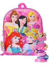 "Girls Disney Princesses Backpack 15"" Mulan w/ (4 Count) Princess Hair Clips"