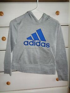 Boys Adidas Hoodie Pull Over Size 8 Gray / Blue   -   A345