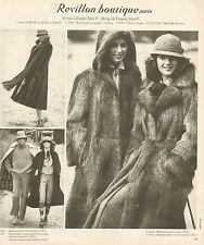 Publicité 1978  REVILLON BOUTIQUE Manteau fourrure Haute couture pret à porter