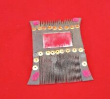 VINTAGE OLD UNIQUE SHAPE GLASS FITTED WOODEN HANDMADE TRIBAL LADY HAIR COMB K2