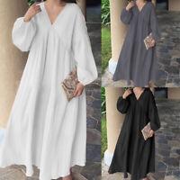 Women Plain Long Sleeve Maxi Kaftan Caftan Abaya Loose Swing Plus Size Tea Dress