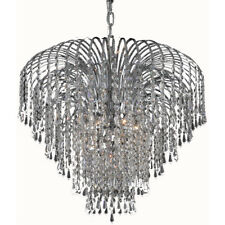 6 LIGHT CHROME CHANDELIERS ASFOUR CRYSTAL DINING LIVING ROOM BEDROOM KITCHEN BAR