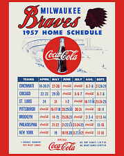Milwaukee Braves 1957 World Series Champs Coca Cola Home Schedule, 8x10 Photo