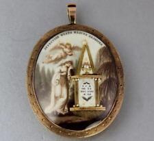 Antique Georgian Memento Mori / Mourning Miniature Painting Gold Pendant c 1792