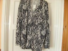 NEW LOVELY SOFT TOUCH GREY & BLACK BLOUSE / SHIRT BY GEORGE SIZE 14-16
