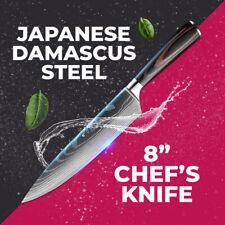 "8"" Japanese Damascus Carbon Steel Sharp Blade Pro Chef Knife Best Kitchen Knives"