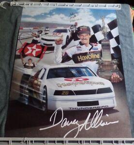 Vintage Davey Allison Deborah Allison Signed Havoline Dover Downs 1987 Poster