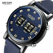 MEGIR STEAMPUNK JUMP HOUR DRUM QUARTZ WATCH BLUE DIAL