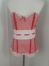 Womens Corset Red White Gingham Eyelet Ribbon Details Dreamgirl sz L Cotton