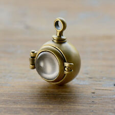 Bubble Antique Bronze Hinged Locket Magnifying Capsule Locket Pendant Glass