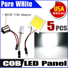5X 8W White 48chips COB LED Dome Map light Panel Interior Bulb +T10 1156 Adapter