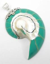 Turquoise Natural Nautilus Shell 925 Sterling Silver Pendant Jewelry SE060-L