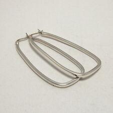 Hoop Earrings Sterling Silver 925 Plain Large Snap Closure