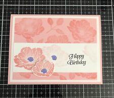 "Card Kit Set Of 4 Stampin Up Floral Essence Flirty Flamingo ""Happy Birthday"""