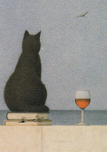 Postkarte: Quint Buchholz - Katze am Meer / Wein / Bücher