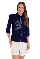Women's Navy Swallows Bird Retro Vintage Blouse Shirt By Banned Apparel