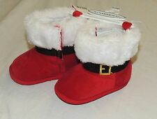 New Unisex Baby Santa Shoes Slippers Costume First Christmas Size 0-6 Months