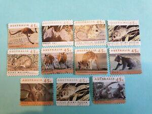 Australia mixed animals stamp set of 11
