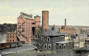 Hollingsworth Whitney Mill Office Railroad Line Winslow Maine 1911 postcard