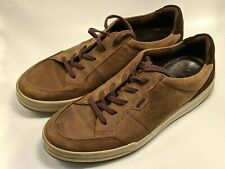 Ecco Mens Size 44 US 11 - 11.5 Casual Sneakers Comfort Brown Leather Shoes