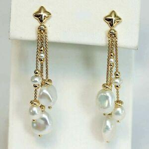 DAVID YURMAN NEW 18K Yellow Gold Bijoux Bead Link Drop Earrings with Pearls