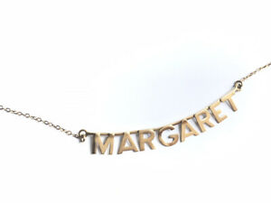 """Vintage 9ct Gold Name MARGARET Pendant 16"""" Chain Necklace GIFT BOXED"""