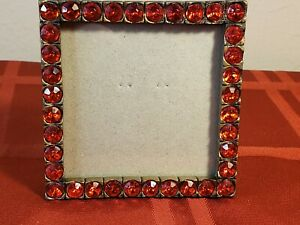 """ROUND RED RHINSTONES IN A GOLD-TONE METAL PHOTO PICTURE FRAME 3"""" X 3"""""""