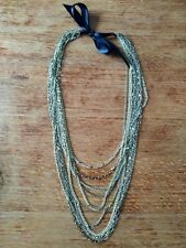 ASOS gold multi chain long black ribbon tie fashion necklace 18.5 inches long