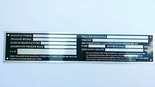 Large VIN Aluminium Plate Compliance Tag HorseFloat Car Bike Boat Trailer L245mm