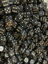 25 x Black Dice D6 12mm Gold pips Spots RPG Warhammer  40k