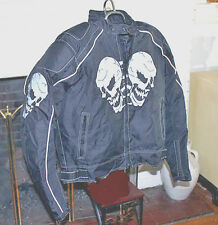 Men's Textile armored Motorcycle Jacket w/ Reflective Skull Design Front & Back