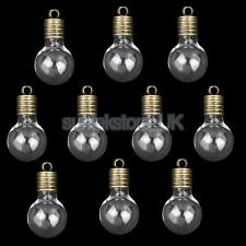 10 Glass Bulb Vials Empty Wishing Bottles Charms Necklace Pendant DIY Crafts