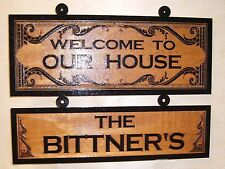 Personalized-Custom-Wood-Sign-WELCOME TO OUR HOUSE - ANY TEXT Engraved Gift.